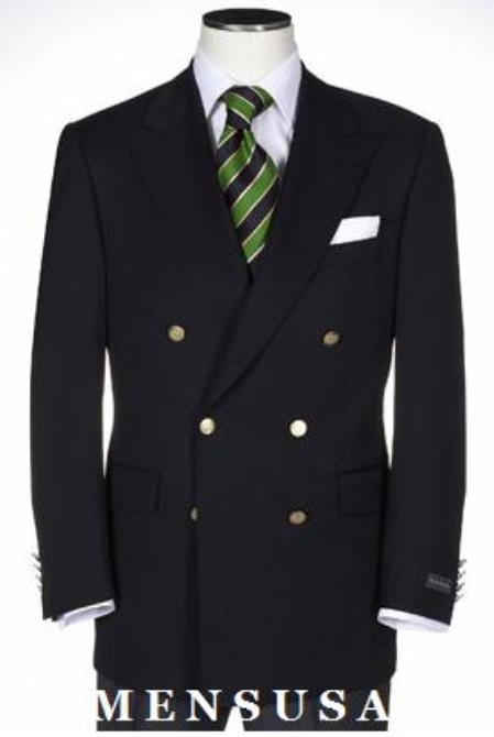 SKU# BPY334 t Quality Solid Black Double Breasted Blazer With Best Cut & Fabric Mens suit $199