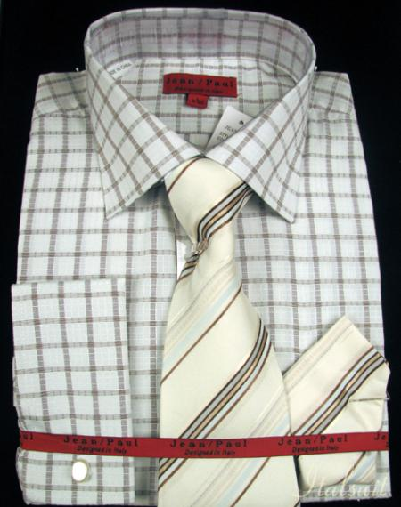 SKU#ZM8111 Tan Shirt Tie and Hankie Set $65