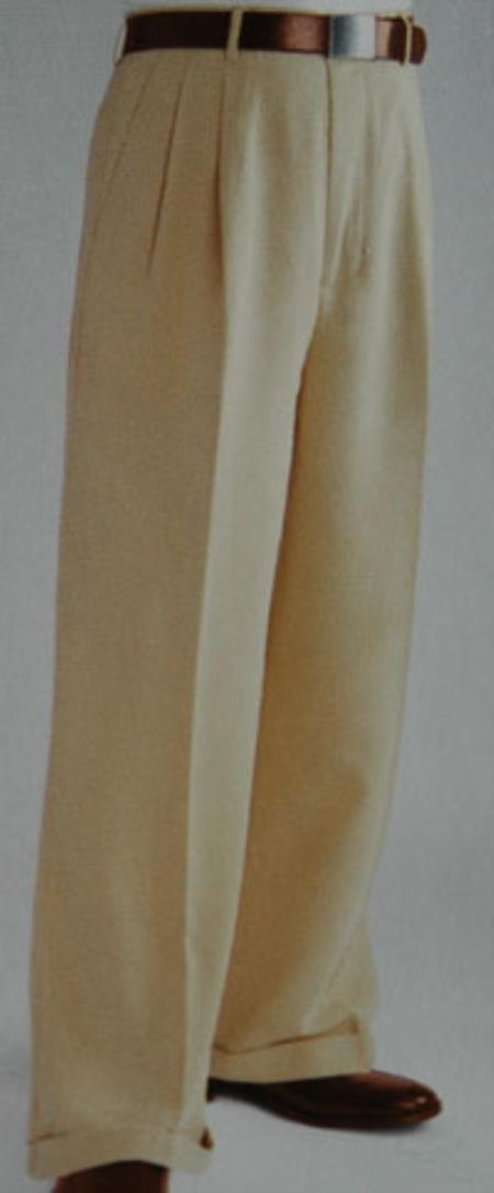 1930s Men's Costumes: Gangster, Clyde Barrow, Mummy, Dracula, Frankenstein Tan Wide Leg Dress Pants Pleated baggy dress trousers $59.00 AT vintagedancer.com