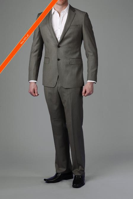 SKU#MG2992 Taupe Stripe Slim Cut Suit 2-Button $175