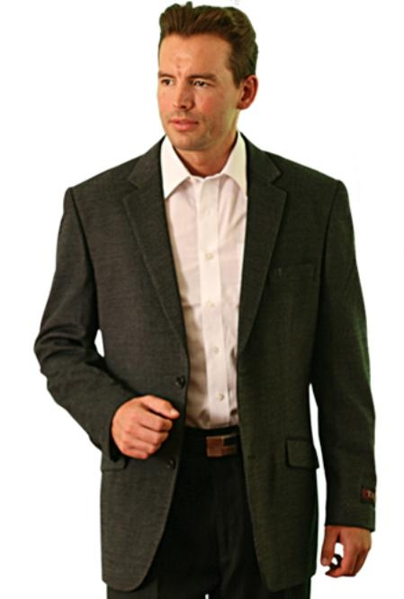 SKU#BR9022 wool Two Button Blazer Charcoal