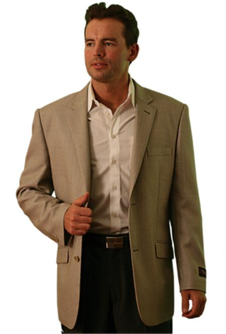 SKU#BR9022 wool Two Button Blazer Tan $139