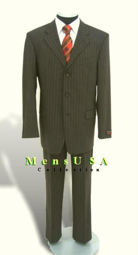 SKU# SLK12 Three-Button Olive Pinstripe Multi-Stripe Suit All-wool Pleated Pants $159