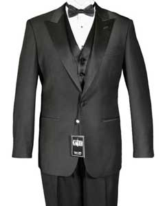 Classic One Button Wide Satin Peak Lapel Tuxedo