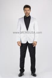 Button Slim Polka Dot Suit With Peak Lapel White