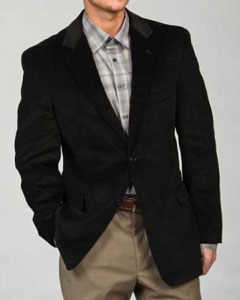 Two Button Mens Corduroy Sport Coat Black