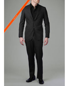 2 Button Liquid Black Modern Slim Suit