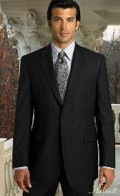 Two Buttons Notch Lapel Side Vented Pinstripe Black Stripe Suit Classic