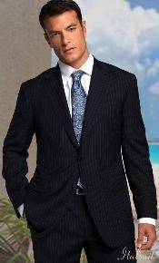 Two Buttons Notch Lapel Side Vented Black with Pinstripe Suit Classic