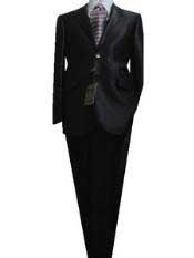 Lapel Jet Black Sharkskin Cheap Priced Business Suits