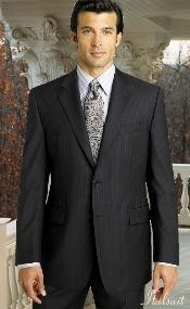 2 btn Pinstripe Charcoal Grey Suit Super 150s with Hand Pick Stitching on Lapel
