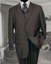 2 Btn Charcoal Gray Pinstripe Suit Super 150s with Hand Pick Stitching on Lapel