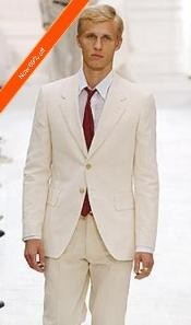 Ivory Off White 2 Button Fully Lined Double Vented Suits