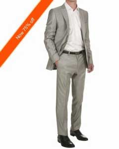 Mens 2-Button Silver Fitted Cheap Priced Business Suits Clearance Sale