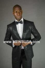 Button Sequin Shawl Lapel Slim Fit Jacket Black