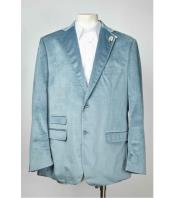 Button Notch Lapel Velvet ~ Velour Single Breasted Mens Baby Blue Blazer