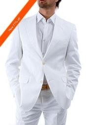 Mens 2-Button White Suits For Men + White Shirt  - All