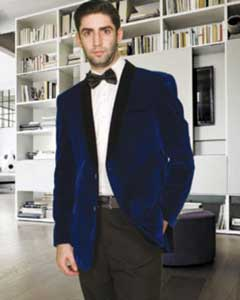 Modern Fit Shawl Lapel 1 Button Velvet Jacket Navy Blue