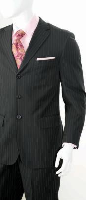 2 Piece Classic Suit - Pinstripe Black