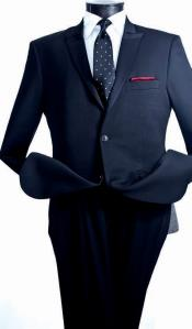 Single Breasted Mens 2 Piece Slim Suit - Narrow Peak Lapel Dark