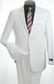 Breasted Mens 2 Piece Slim Suit - Narrow Peak Lapel White