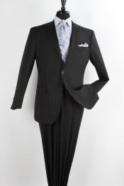 2 Piece Wool Executive Suit - Peak Lapel Black with Chalk Stripe ~ Pinstripe