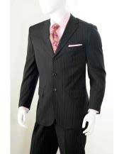 Three button 2 Piece Black Banker Chalk Pinstripe ~ Stripe Athletic Cut