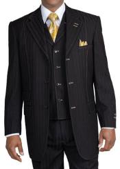 New Mens 3 piece Elegant and Classic Stripe ~ Pinstripe Suit Black