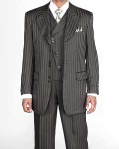 Mens 3 piece Fashion Tone on Tone Stripe ~ Pinstripe Suits w/Vest