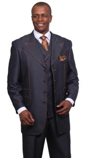 Mens 3 Piece 37Inch Length Denim Suit with Wide Lapels Blue
