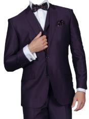 Plum ~ Eggplant ~ Very Dark Purple No Vest 100% Wool Suit