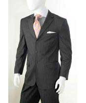 button Grey Banker Chalk Pinstripe ~ Stripe Notch Lapel Athletic Cut