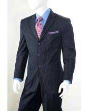 Navy Three button  Banker Chalk Pinstripe ~ Stripe Athletic Cut Pleated