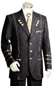 Button Black Mens Suit