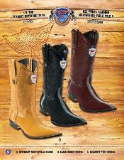 Toe Genuine Stingray mantarraya skin Rowstone Finish Cowboy Western Boots Multi-color