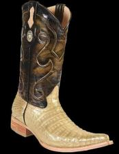Genuine Crocodile Belly 3x Toe Style Gold Cowboy Boots
