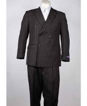 Pinstripe Classic Fit 6 Button Peak Lapel Black Double Breasted Suit