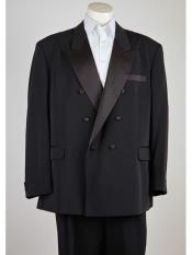 Peak Lapel 6 Button Black Double Breasted Closure Classic Fit Suit