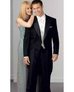 Notch Collar 6 Buttons Pleated Pants Peak Tailcoat Black - Matching Trousers