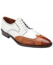Mens Lace Up Cognac ~ White World Best Alligator ~ Gator Skin Calfskin Wingtip Dress Shoes