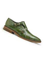 Genuine World Best Alligator ~ Gator Skin Pistachio Leather Lining Double Buckle Shoes