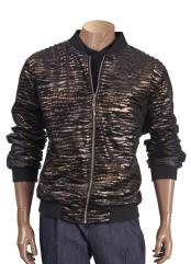 Animal Print Black Zipper Closure Short Jacket with Trim