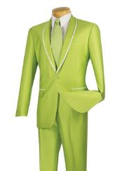 Shawl Lapel Slim Fit Suits Shiny Shawl Collar Apple Lime Neon Green Tuxedo looking White trimmed