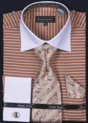Uomo Tan ~ Beige Horizontal Stripe Two Tone Dress Fashion Shirt/ Tie / Hanky Set White Collar