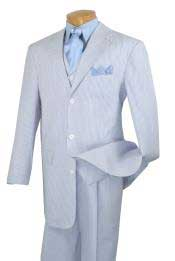 Mens Fashion Baby Blue seersucker ~ sear sucker 3 Piece Suit