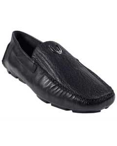 Mens Black Genuine Shark Drivers Vestigium Driving Shoes slip on loafers for men
