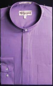 Collar Dress Fashion collarless Shirt With Button Cuff Lavender Mens Dress