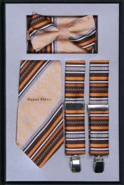 Mens Suspender Tie Bow Tie ~ Bowtie and Hanky Set Beige