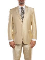 Beige ~ Khaki ~ Tan ~ Champagne Suit Shiny Flashy Sharkskin Classic