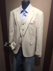 ~ Khaki ~ Tan Mens Notch Lapel 2 Button Cheap Priced